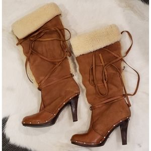 Micheal Kors Suede & Shearling Boots Gorgeous!!!!!